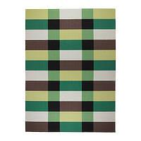 """ИКЕА """"СТОКГОЛЬМ"""" Ковер, безворсовый, ручная работа в клетку, зеленый в клетку зеленый, 250x350 см."""