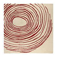 """ИКЕА """"ЕИВОР ЦИРКЕЛЬ"""" Ковер с длинным ворсом, белый, красный 200*200см."""