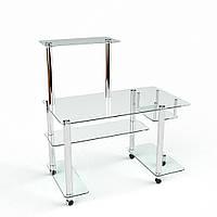 Стол компьютерный из прозрачного стекла модель Феникс