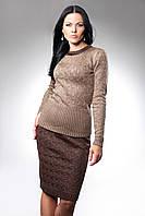Женский вязанный комплект кофта и юбка Евгения