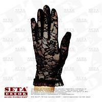 """Чёрные перчатки """"Ажурные розы"""" гипюровые короткие"""