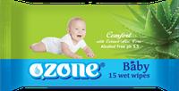 Детские влажные салфетки 15 шт Озон Ozone с экстрактом алоэ вера