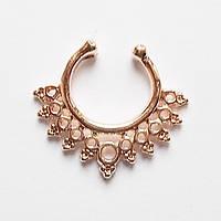 Обманка пирсинга носа. Ажурное кольцо (розовая позолота). Ювелирный сплав.
