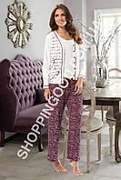 Пижама женская Shirly 5922, домашний костюм тройка - блуза, майка и брюки