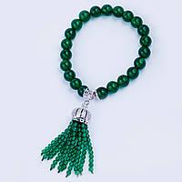 Браслет из зеленого венецианского жемчуга с цирконами