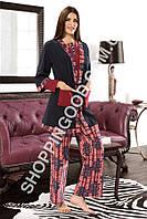 Пижама женская Shirly 5962, домашний костюм тройка - халат, футболка и брюки