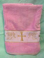 Крыжма для девочки. Полотенце для крещения розовое