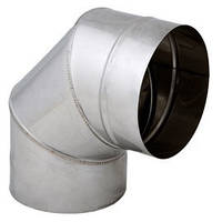 Труба дымоходная из нержавейки одностенная 0,5 мм Sanco Колено дымоходное из нержавейки одностенное 180/90°  0,5мм