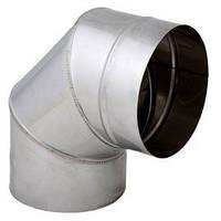 Труба дымоходная из нержавейки одностенная 0,5 мм Sanco Колено дымоходное из нержавейки одностенное 130/90°  0,5мм