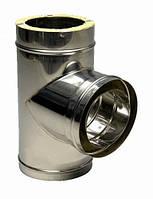 Труба дымоходная из нержавейки утепленная 0,5 мм Sanco Тройник дымоходный из нержавейки утепленный 120/90° 0,5 мм