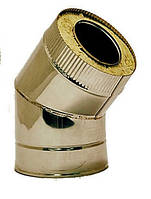 Труба дымоходная из нержавейки утепленная 0,5 мм Sanco Колено дымоходное из нержавейки утепленное 130/45° 0,5 мм