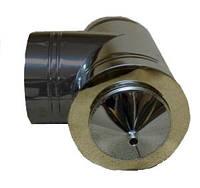 Труба дымоходная из нержавейки утепленная 0,5 мм Sanco Тройник с конденсатосборником из нержавейки утепленный 130/90° 0,5 мм