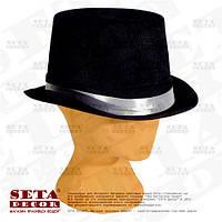 """Шляпа """"Чёрный Цилиндр"""" с белой лентой карнавальная."""