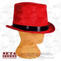 """Шляпа """"Красный Цилиндр"""" с черной лентой карнавальная."""