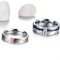 Парные обручальные кольца Стражи Богатства (розовое золото 750 проба, нержавеющая медицинская сталь)