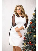 Нарядное черно белое платье с воротничком трикотаж + сетка батал