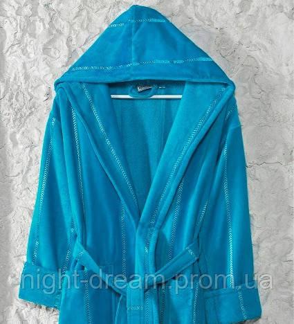 Банный махровый халат с капюшоном  Ladik  Venneta V1 голубой XXL