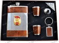 Подарочный набор СССР 5в1 AL210 Фляга+2 стопки+лейка+брелок Набор с флягой Подарок мужчине на юбилей
