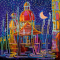 """Схема для вышивания бисером на художественном холсте """"В ночи"""""""