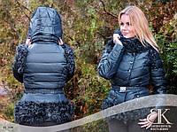 Синяя женская зимняя куртка трансформер