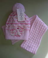Комплект зимний шапка и шарф для девочки