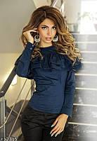 Блузка поплиновая тёмно синяя с воланами