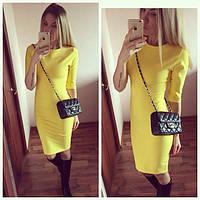 Платье женское Вероника желтое , платье до колена