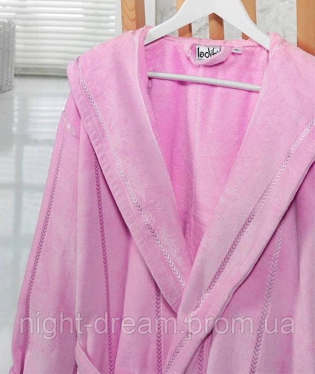 Банный махровый халат с капюшоном  Ladik  Venneta V5 розовый XXL