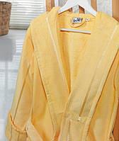 Банный махровый халат с капюшоном  Ladik  Venneta V6 желтый XL