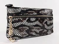 Клатч-кошелек женский кожаный черно-белый рептилия 614