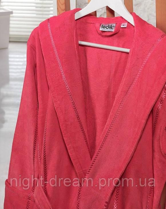 Банный махровый халат с капюшоном  Ladik  Venneta V11 темно-розовый L