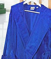 Банный махровый халат с капюшоном  Ladik  Venneta V13 синий M