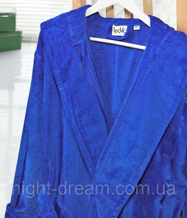 Банный махровый халат с капюшоном  Ladik  Venneta V13 синий XL