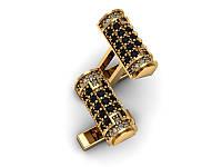 Золотые запонки с черными камнями з00246