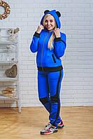 Теплый молодежный костюм с ушками синий, фото 1