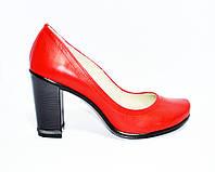 Кожаные женские туфли красного цвета на устойчивом высоком каблуке. , фото 1