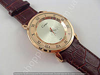 Мужские часы Cartier 013477 бронзовые на коричневом ремешке