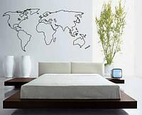 Виниловая наклейка на стену Карта мира контур