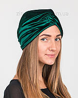 Шапка тюрбан бархатный темно-зеленый