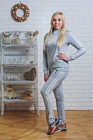 Спортивный костюм женский с лампасами светло-серый, фото 1