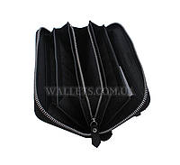 Кошелек-барсетка кожаная ST Leather Accessories на молнии, черная, матовая.