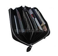 Женский большой кожаный кошелек ST Leather Accessories на молнии, черный, матовый.