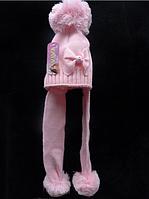 Зимняя шапочка с ушками на девочку Бант розовая