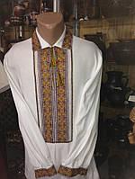 Красива чоловіча вишиванка з багатим орнаментом (ручної роботи)