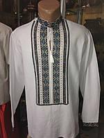 Сорочка вишита чоловіча з геометричним орнаментом в синьо-жовтих тонах