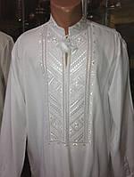 Біла чоловіча сорочка вишита гладдю (ручної роботи)