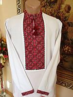 Чоловіча вишита сорочка з червоним орнаментом на домотканому полотні