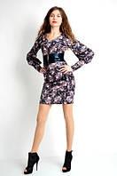 Платье с вшитым широким поясом из экокожи, фото 1