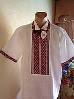 Вишита сорочка на короткий рукав з натуральної тканини