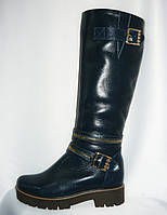 Стильные женские зимние синие кожаные сапоги на низком ходу